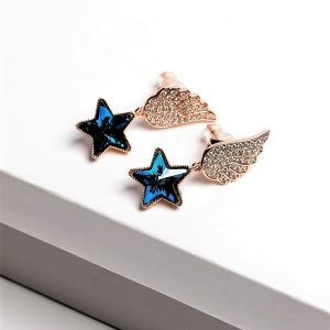 Angel Wing Drop Earrings Embellished With Dark Blue Star Shape Crystal From Swarovski