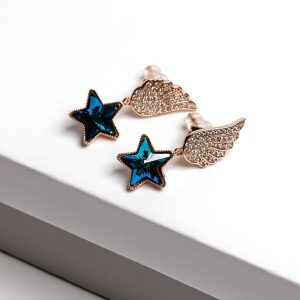 Angel Wing Drop Earrings Embellished With Dark Blue Star Shape Crystal From Swarovski