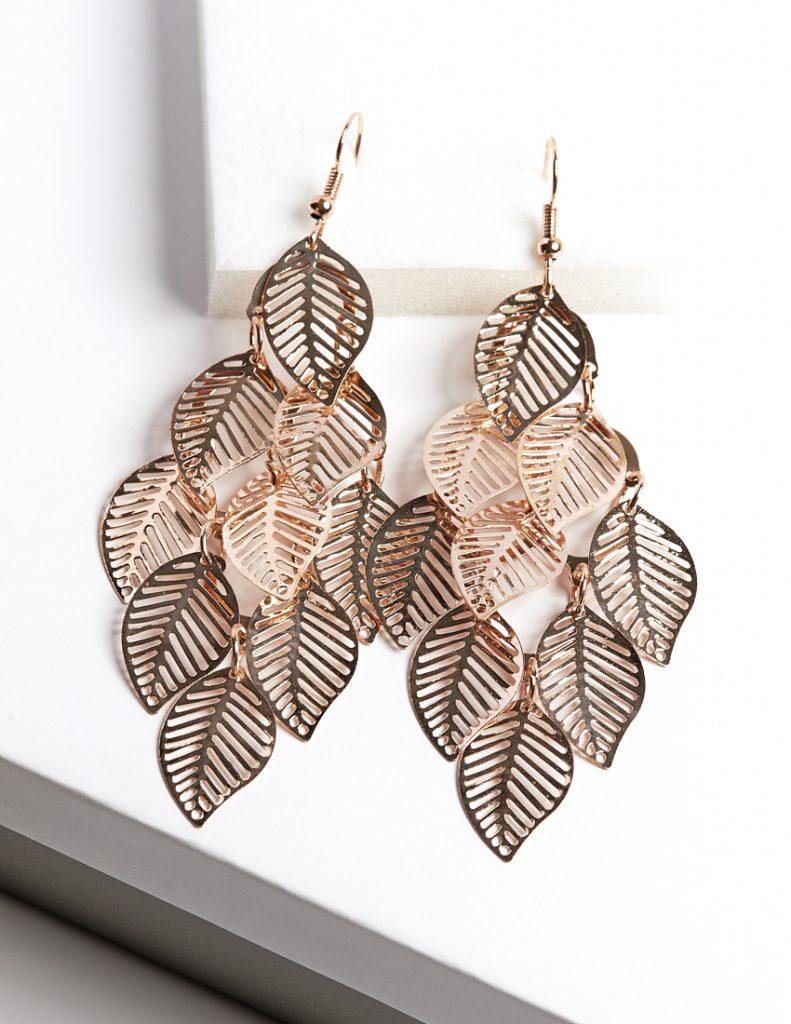 Callel Long Drop Leaf Earrings