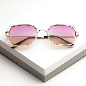 Pink Tinted Gold Metal Detail Sunglasses