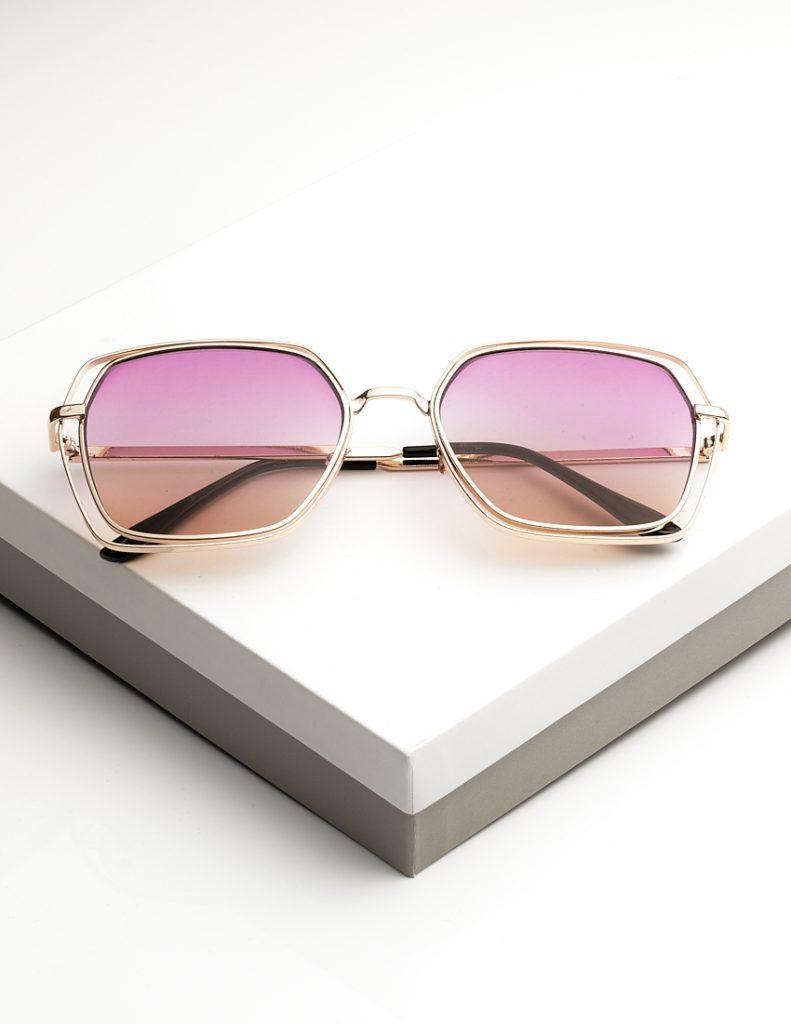 Womens Pink Tinted Metal Detail Sunglasses