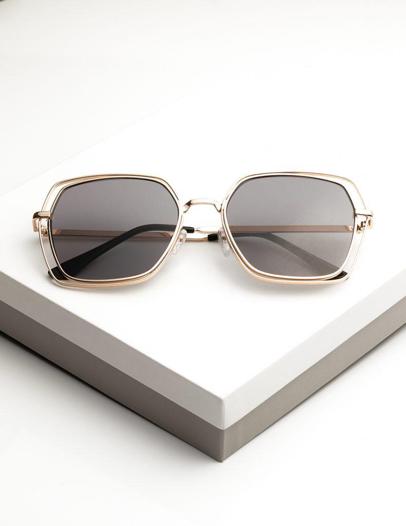 Callel Black Tinted Gold Metal Detail Sunglasses