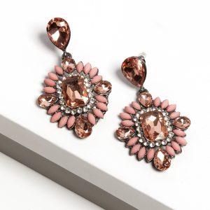 Pink Crystal Long Drop Earrings
