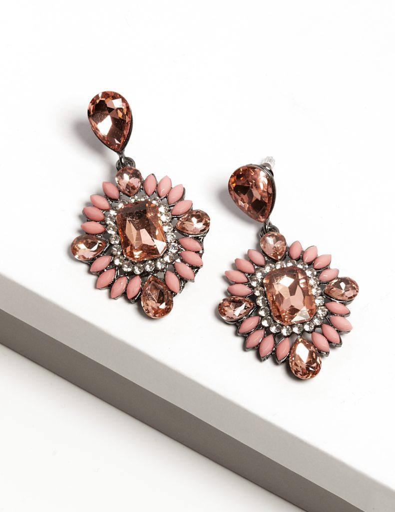 Callel Pink Crystal Long Drop Earrings