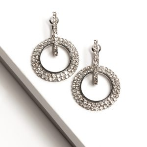 Silver Double Round Huggie Earrings