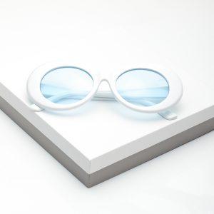 White Goggles Round Oval Sunglasses