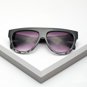 White Leopard Print Flat Top Sunglasses