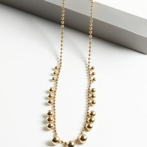 14K Gold Beads Chain Necklace