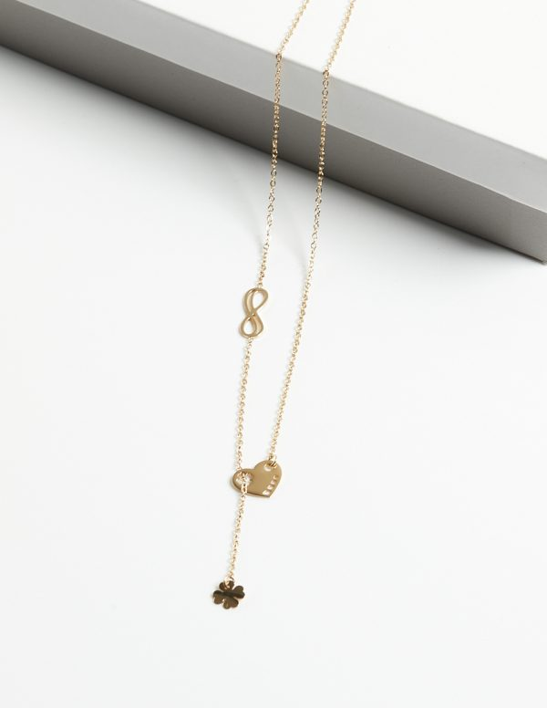Callel 14K Gold Infinity & Heart & Four Leaf Clover Celebrity Necklace