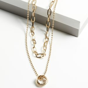 14K Gold Double Layer Heavy Chain Necklace