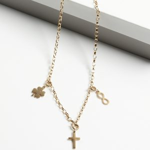 14K Gold Heavy Chain Infinity & Cross & Four Leaf Clover Celebrity Necklace