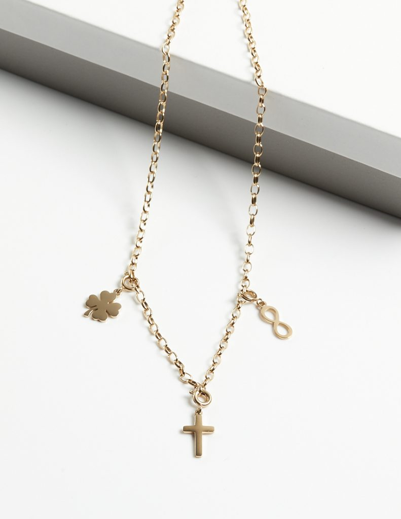 Callel 14K Gold Heavy Chain Infinity & Cross & Four Leaf Clover Celebrity Necklace