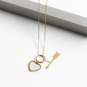 14K Gold Heart & Arrow Pendant Necklace