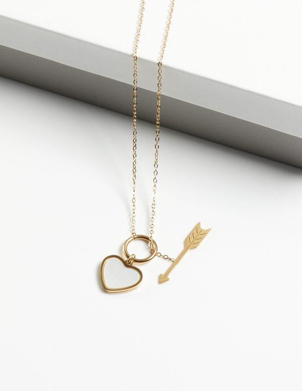 Callel 14K Gold Heart & Arrow Pendant Necklace