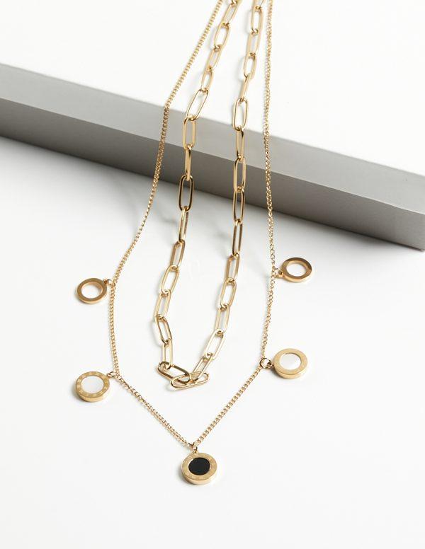 Callel Double Layer Black Enamel Blueberry Celebrity Necklace