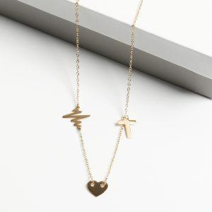 14K Gold Life Line & Cross & Heart Celebrity Necklace