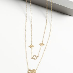14K Gold Blueberry Double Layer Chain Necklace