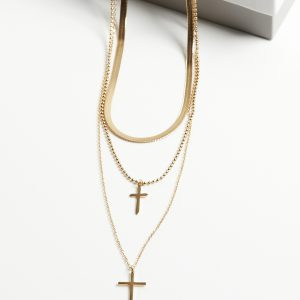 14K Gold 3 Layered Cross Chain Celebrity Necklace