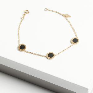 14K Gold Black Enamel Blueberry Bracelet