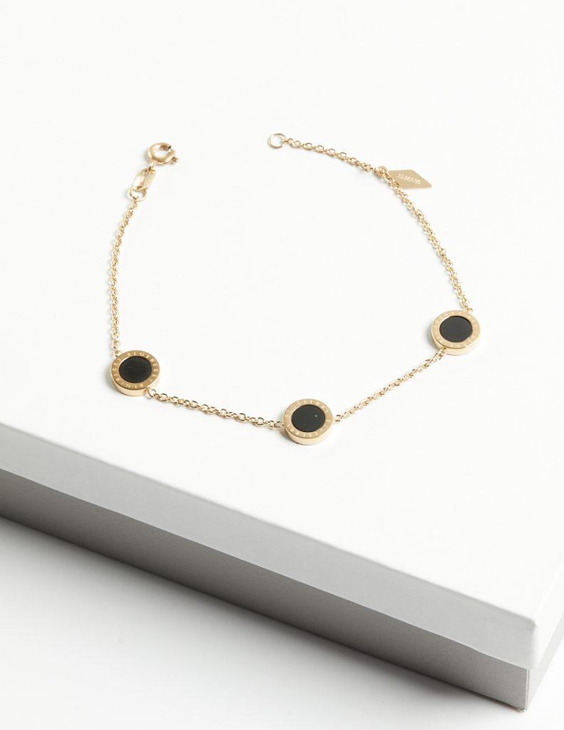 Callel 14K Gold Black Enamel Blueberry Chain Bracelet
