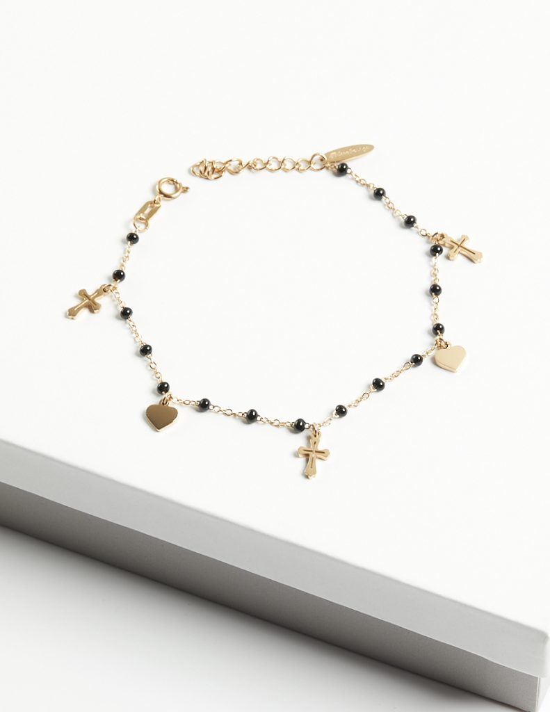 Callel 14K Gold Black Beads Heart & Cross Bracelet