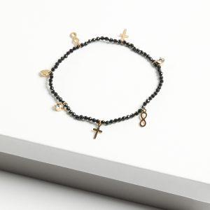 14K Gold Black Beads Bracelet