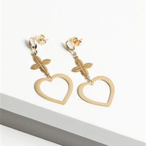 14K Gold Heart Long Drop Earrings