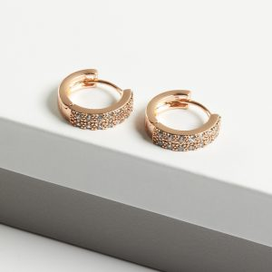 18K Gold Cubic Zirconia Hoop Earrings
