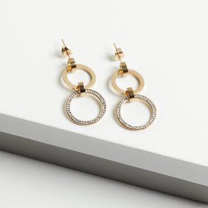 14K Gold Double Drop Stud Earrings