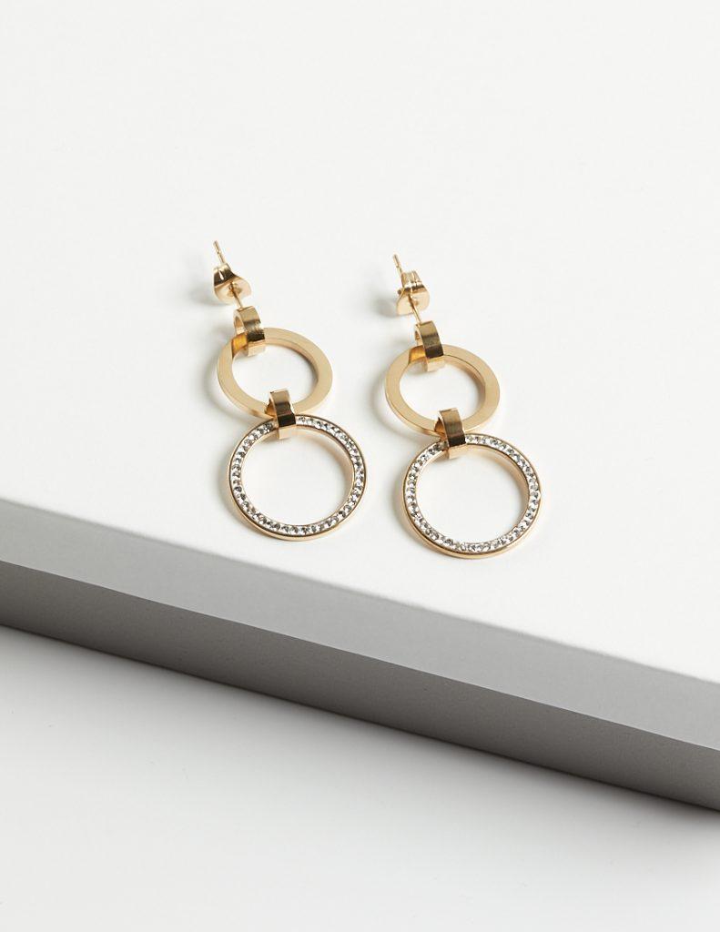 Callel 14K Gold Double Drop Cubic Zirconia Stud Earrings