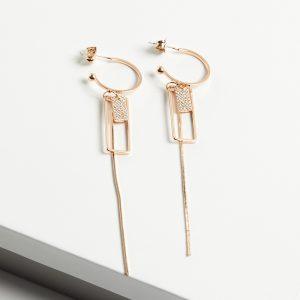 18K Gold Half Hoop Drop Dangle Earrings