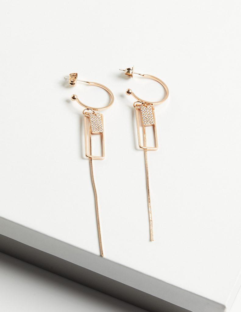 18k Gold Half Hoop Long Drop Earrings