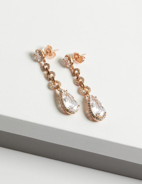 Callel 18K Gold Luxury Cubic Zirconia Long Drop Earrings