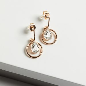 18K Gold Drop Earrings Embellished With White Crystal From Swarovski