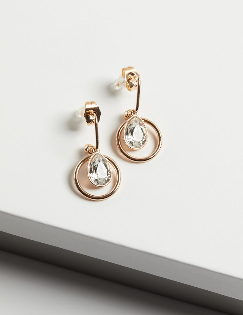 Callel 18K Gold Drop Earrings Embellished With White Crystal From Swarovski