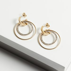 14K Gold Half Hoop Double Drop Stud Earrings