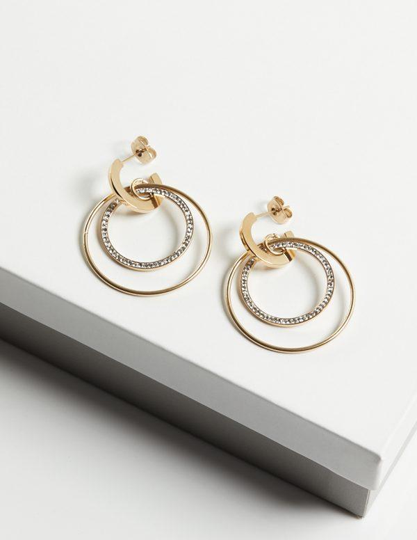 14K Half Hoop Double Drop Stud Earrings