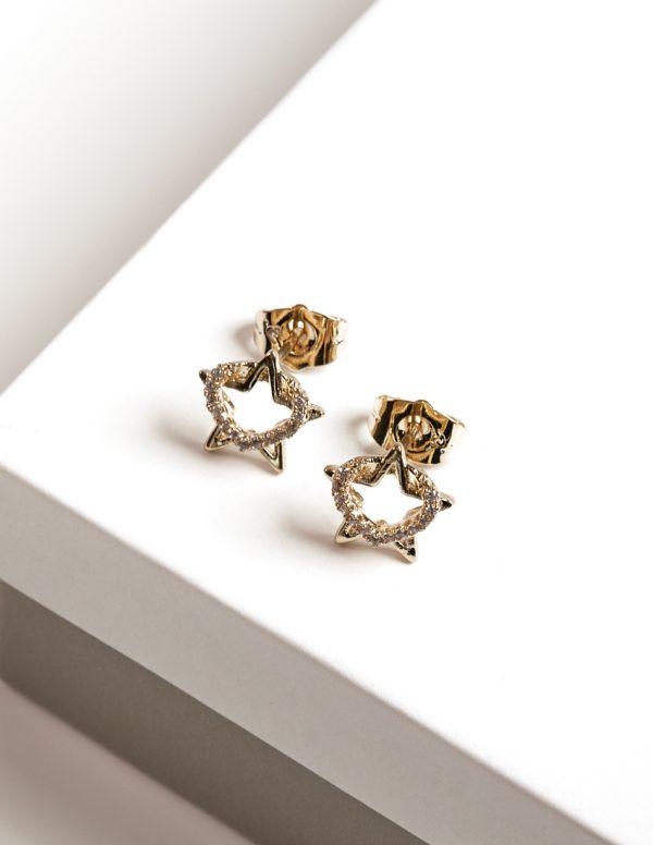 14K Gold Heart & Star Cubic Zirconia Stud Earrings
