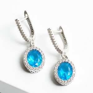 Aquamarine & Silver Oval Cubic Zirconia Latch Back Earrings