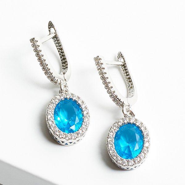 Callel Aquamarine & Silver Oval Cubic Zirconia Latch Back Earrings