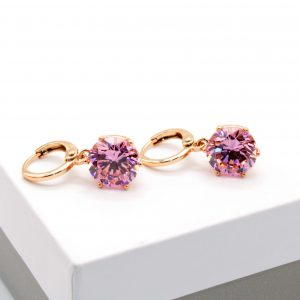 18K Gold Pink Cubic Zirconia Huggie Drop Earrings