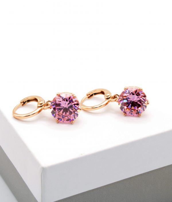 Callel 18K Gold Pink Cubic Zirconia Huggie Drop Earrings