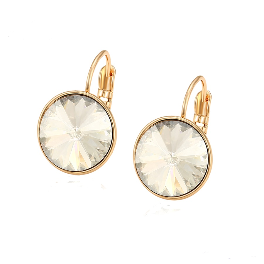 18K Gold Earrings Embellished With White Crystal From Swarovski