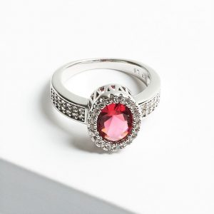Luxury Pink Sapphire Cubic Zirconia Crystal Silver Ring