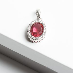 Pink Sapphire & Silver Oval Cubic Zirconia Pendant