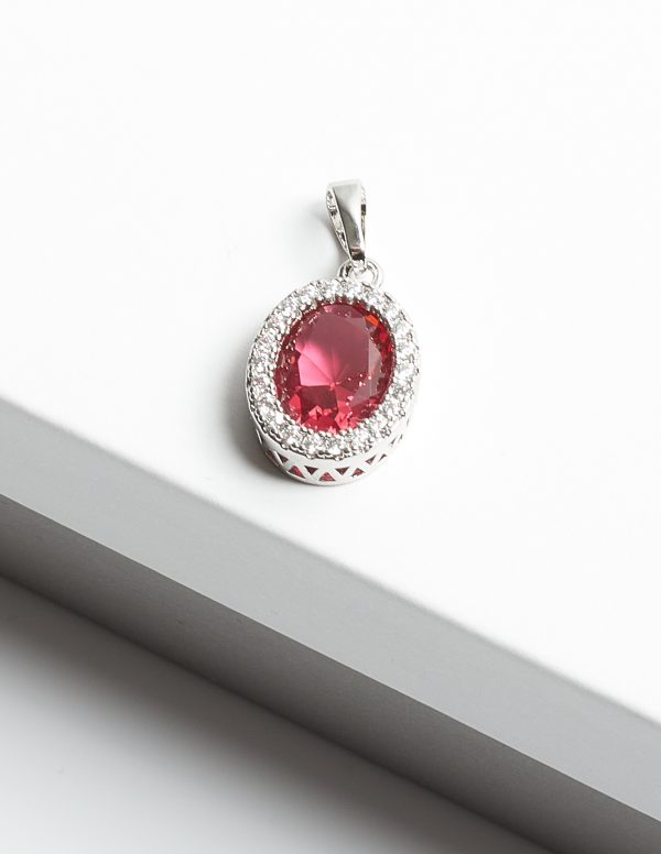 Callel Pink Sapphire & Silver Oval Cubic Zirconia Pendant