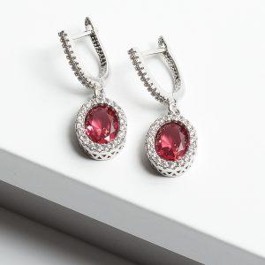 Pink Shapphire & Silver Oval Cubic Zirconia Latch Back Earrings