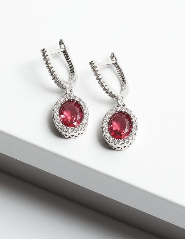 Callel Pink Shapphire & Silver Oval Cubic Zirconia Latch Back Earrings