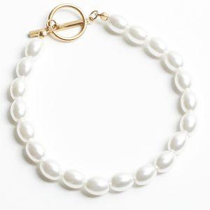 Stainless Steel Pearl T-Bar Bracelet