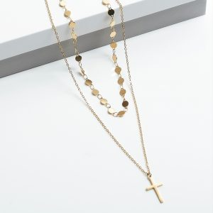 14K Double Layer Cross Celebrity Necklace